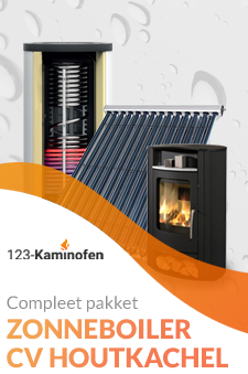 Houtkachel op cv kopen met zonneboiler? Bij 123-Kaminofen goed mogelijk! Ga van het gas af!